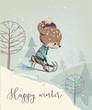 Cute fawn on sleigh