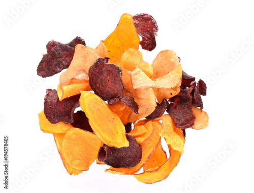 Vegetable chips isolated on white