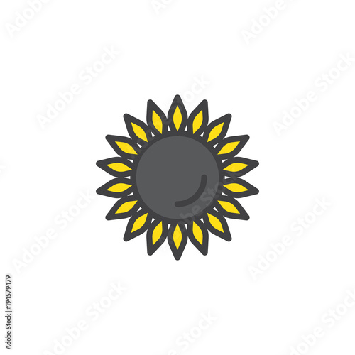 Sunflower filled outline icon, line vector sign, linear colorful pictogram isolated on white. Helianthus symbol, logo illustration. Pixel perfect vector graphics