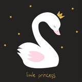 Little swan princess with gold glitter crow and lettering. Vector hand drawn illustration. - 194580684