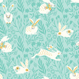 Seamless Pattern  Bunnies For Easter And Other Users Wall Sticker