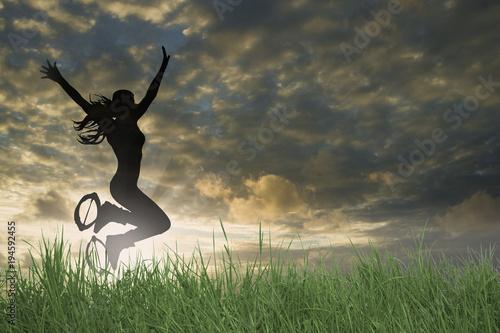 Plexiglas Kangoeroe Kangoo Jumps bei Dämmerung