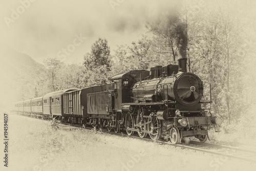 Stara parowa lokomotywa w rocznika stylu