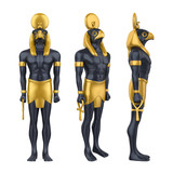Egyptian God Horus Statue Isolated - 194594824