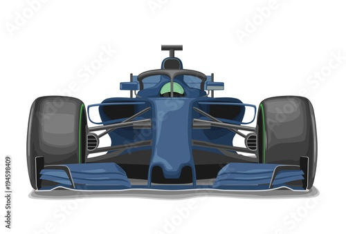 Poster F1 Racing blue car with protection front view. Vector flat illustration