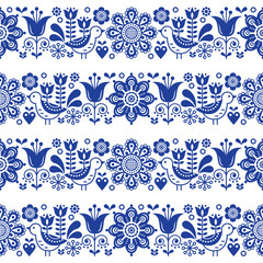 Folk art seamless vector floral pattern, Scandinavian navy blue repetitive design, Nordic ornament