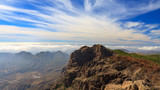 Landscape of volcanic mountains on Gran Canaria island.