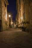 Street view at night. Pienza town in Tuscany region in Italy