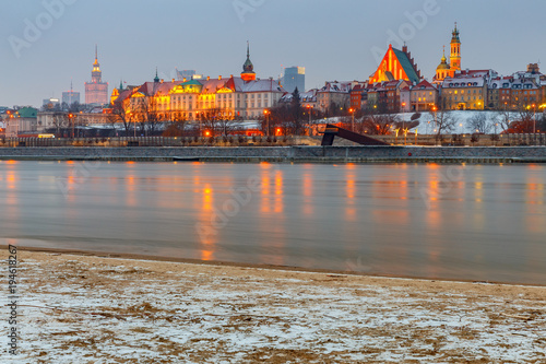 Warsaw. View of the old city at sunset.