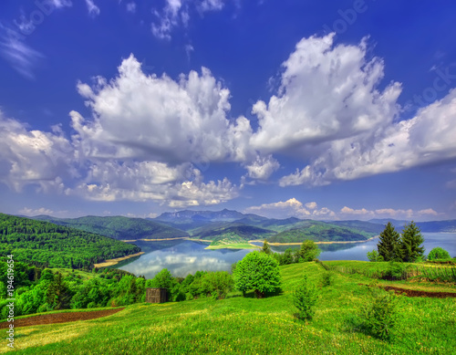 Fotobehang Lente spring landscape in mountains with lake. Romania, Bicaz