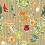 Vegetables seamless pattern. Eco farmer vegetables pattern, potato, carrot, cabbage, pepper. Healthy nutrition. Fresh vegetarian healthy food - 194623634