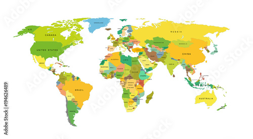 Fototapeta Detailed world map with countries. Vector