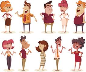 Group of retro cartoon business people.