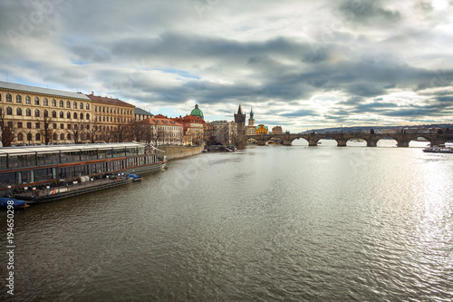 Tuinposter Praag Vltava river and Charles bridge in Prague, Czech Republic