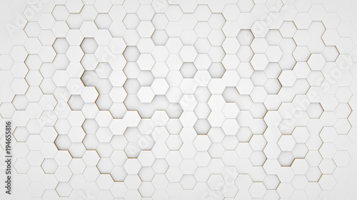 Clear pattern abstract background hexagon white - 194655816