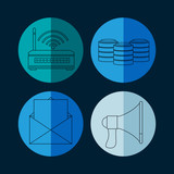Collection of database icons vector illustration graphic design - 194656409