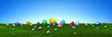 Colorful Easter eggs on green grass with blue sky - 3d render - 194663890
