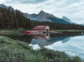 The boat house on Maligne Lake of Jasper National Park