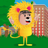 Boy dressed as lion with hands in rocker pose. Vector cartoon character illustration.