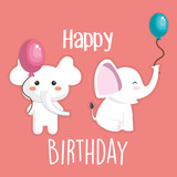happy birthday card with cute elephant character vector illustration design - 194667804