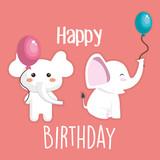 Happy Birthday Card  Cute Elephant Character  Illustration Design Wall Sticker