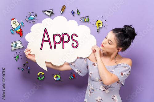 Apps with young woman holding a speech bubble