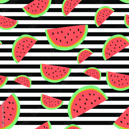 Materiał do szycia Vibrant stripe watermelon background