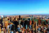 New York City, United States of America - April 12, : Manhattan downtown skyline with Empire State Building and skyscrapers seen from Top of the Rock observation deck on April 12, 2015. - 194672673