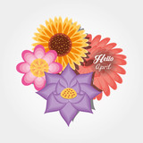 Hello april design with beautiful flowers icon over white background, colorful design vector illustration