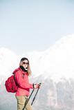 Hiker woman in winter outdoor. - 194679885