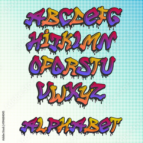 Fotobehang Graffiti Graffity alphabet vector hand drawn grunge font paint symbol design ink style texture typeset