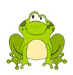 Cute cartoon frog isolated on white