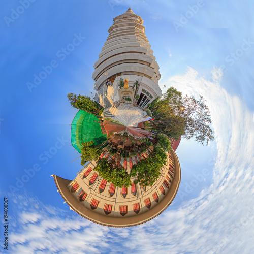 Fotobehang Bangkok 360 Panorama of White pagoda in Wat Paknam Bhasi Charoen