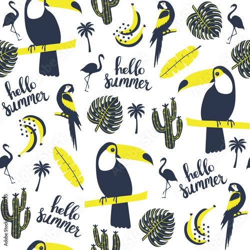 letni-wzor-tukan-papuga-flaming-i-egzotyczne-liscie-ilustracji-wektorowych