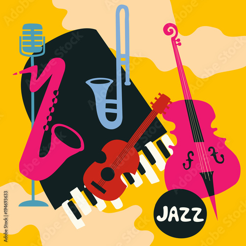 Jazz music festival poster with music instruments. Saxophone, trumpet, guitar, violoncello, piano and microphone flat vector illustration. Jazz concert © abstract