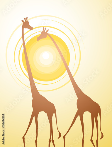 Wall mural giraffe illustration design