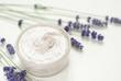 Cream, lavender flowers