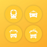 City transport, public transportation round yellow icons with subway, taxi, bus, trolleybus