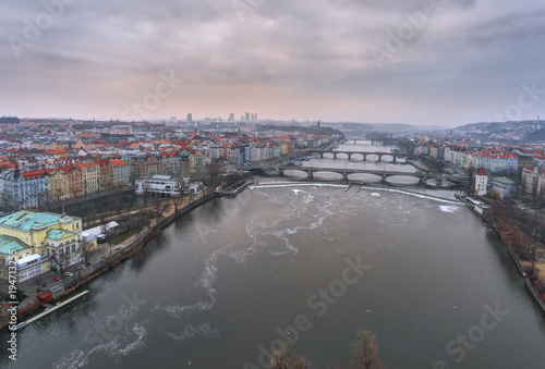 In de dag Praag Czech Republic, Prague, panoramic city view with river Vltava and Charles Bridge.