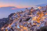 Idyllic view on traditional architecture of Santorini at dusk - 194716808