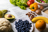 balanced diet plan with fresh healthy food on the table - 194717411