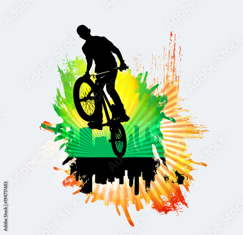 Bicycle jumper, sport background - 194717683