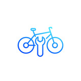 bicycle, bike repair service icon, linear on white