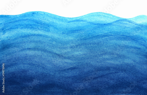 Blue sea waves in watercolor © evgenii141