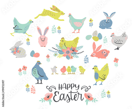 Happy Easter. Vector set of easter chicken and bunnies for card, poster, flyer and other users. - 194722417