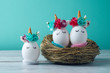 Easter holiday concept with handmade eggs