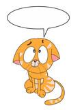 cute cartoon cat and speech bubble