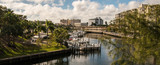Boats in small marina with buildings - 194731660