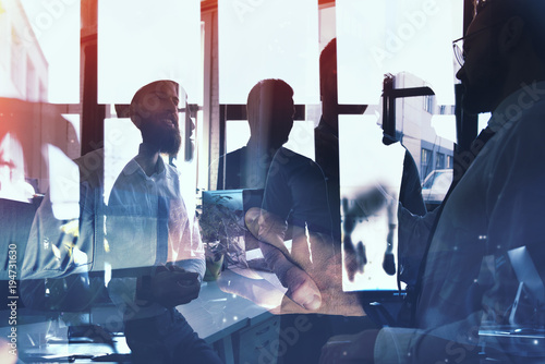 Foto Murales Businessmen that work together in office. Concept of teamwork and partnership. double exposure