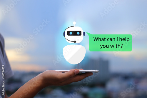 artificial intelligence,AI chat bot concept.Man hands holding mobile phone on blurred urban city as background